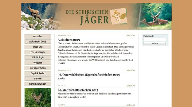 Website der steirischen Jäger