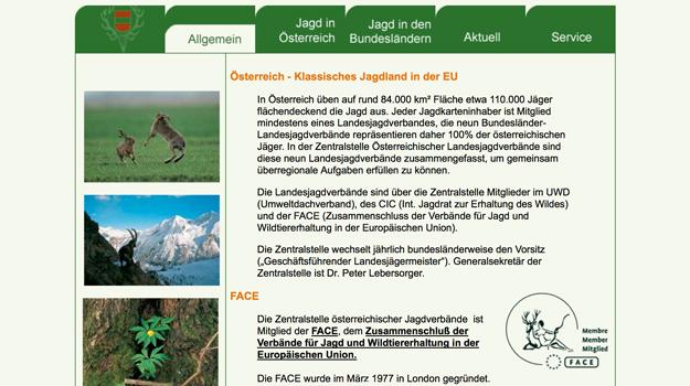 Website Zentralstelle Österreichischer Landesjagdverbände