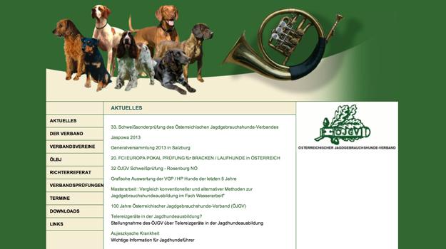Website Österreichischer Jagdgebrauchshunde-Verband