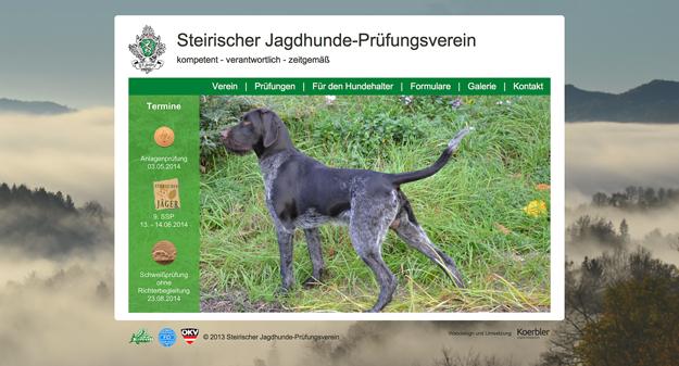 Website Steirischer Jagdhundeprüfungsverein